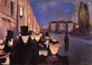 """Noite em Karl Johan"", por Edvard Munch."