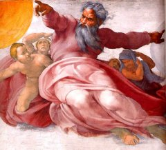 Deus na pintura de Michelangelo.
