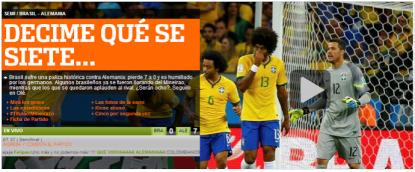 """Capa do jornal argentino """"Ole"""", que zomba da derrota brasileira para a Alemanha."""