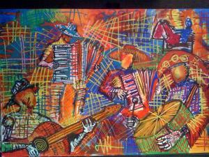 Pintura de Pedro Caetano expressa o prazer de viver.